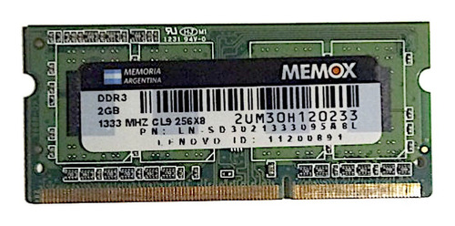 Memoria Laptop Memox 2gb Ddr3 1333mhz- Cl9 256x8 Leer!