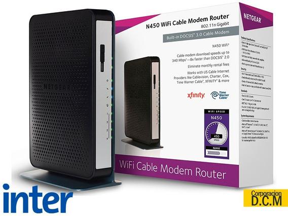 Cable Modem Router Netgear N450 Gigabit Inter Cg3000 Wifi