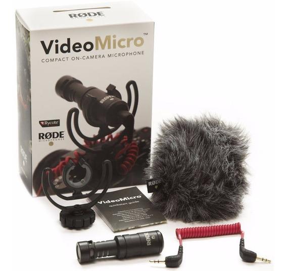 Microfone Rode Videomicro C/ Deadcat P/ Canon/ Nikon/ Sony