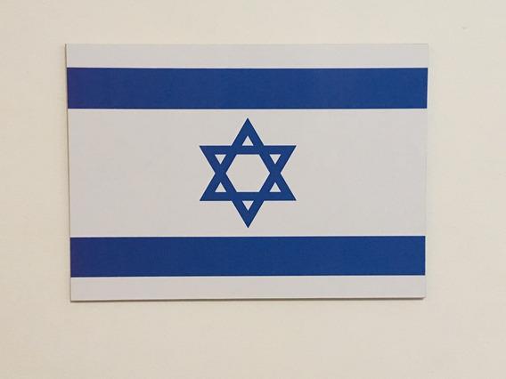 Placa Quadro Decorativo Da Bandeira De Israel 28x20 Cm