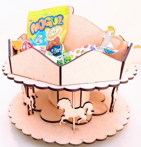 Imagen 1 de 7 de Candy Bar Carrousel Souvenir 20x20x20 - Mdf / Fibrofacil