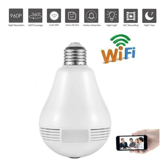 Foco Lámpara Led Cámara Espía 360° Wi-fi + Sonido Ituzaingo