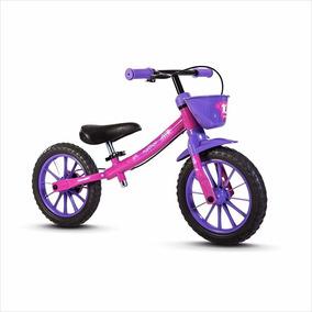 Bicicleta Sem Pedal Equilíbrio Balance Bike Rosa Nathor Rosa
