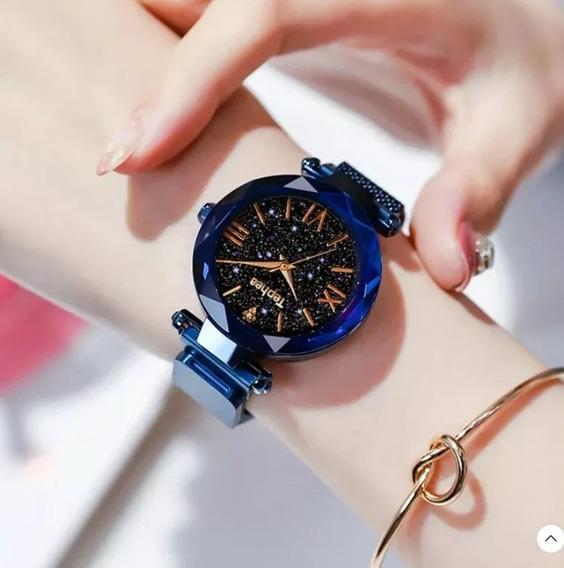 Relógio Feminino Céu Estrelado Azul Ganha Pulseira De Brind