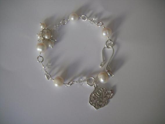 Bisuteria Fina Pulseras De Plata Con Perlas