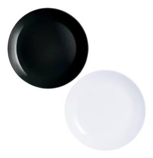 Plato Playo Luminarc Diwali 25cm Vidrio Blanco Negro