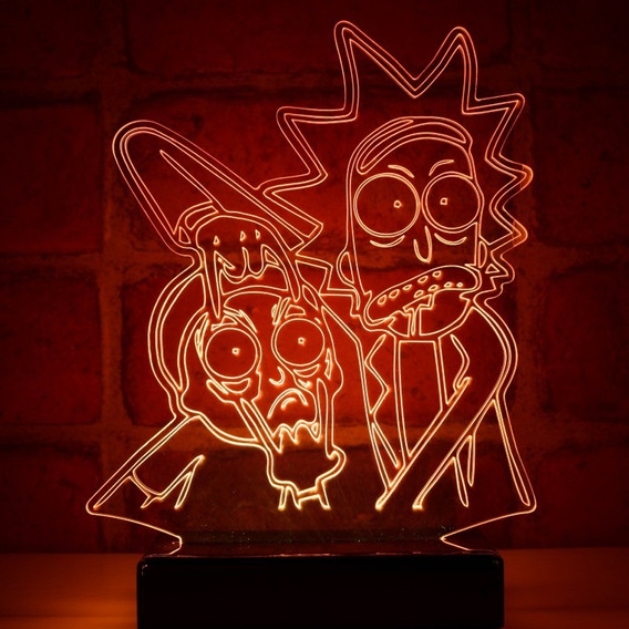 Luminária Led Rick And Morty - Abajur Decorativo