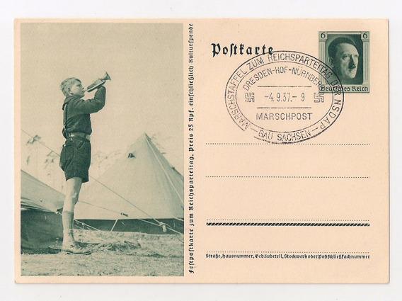 Alemania 3ª Reich Tarjeta Matasello Gau Sachsen Nsdap 1937