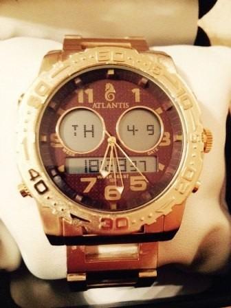 Relógio Original Atlantis Ana Digi 3228 Aço Dourado Marrom