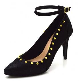 2a9bde46b Sapato Scarpin Preto Spike Dourado Frete Grátis - Sapatos no Mercado ...