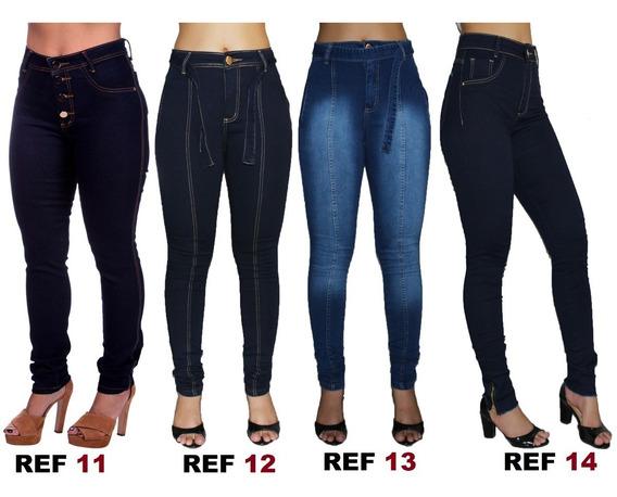 Kit 5 Calça Jeans Hot Pants Cintura Alta Com Lycra Luxo