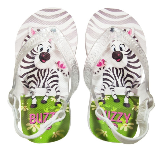 Chinelo Buzzy Sandália Infantil Zebrinha Bebês Meninas
