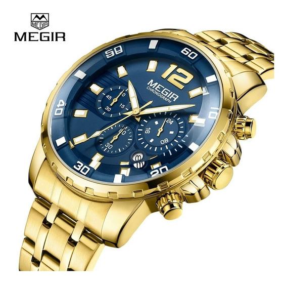 Relógio De Pulso Masculino Megir Funcional Dourado Aço Inox