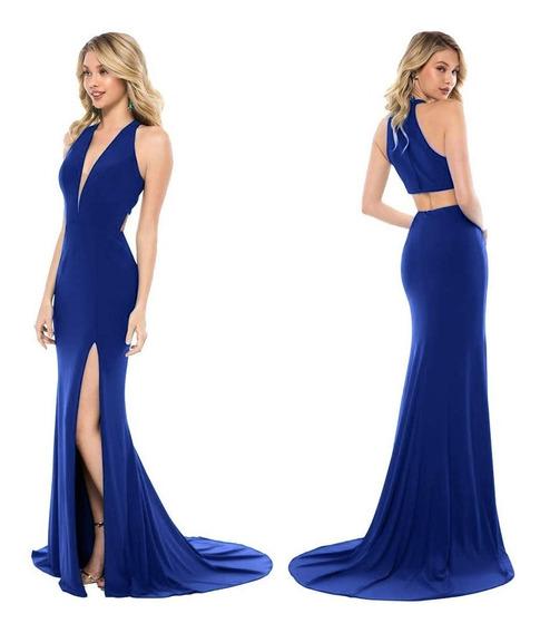 Vestido Azul Escote Fiesta Gala Egreso - G19