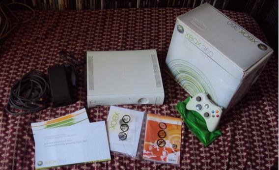 Xbox 360 Fat Desbloqueado E Com Hd Na Caixa Com Manuais