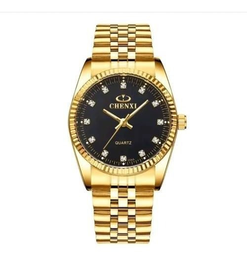 Relógio Chenxi Feminino Grande Dourado Prova D