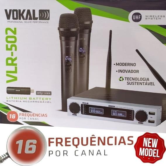 Microfone Sem Fio Duplo Vokal Vlr 502 Novo Modelo Vlr502 Mão
