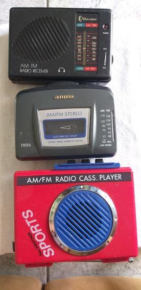 3 Carcaças De Walk Man Rádio Portáti Toca Fita Antigos Aiwa
