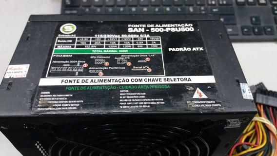 Fonte Atx 24 Pinos + Sata Santech San-500-psu500 Pci-e