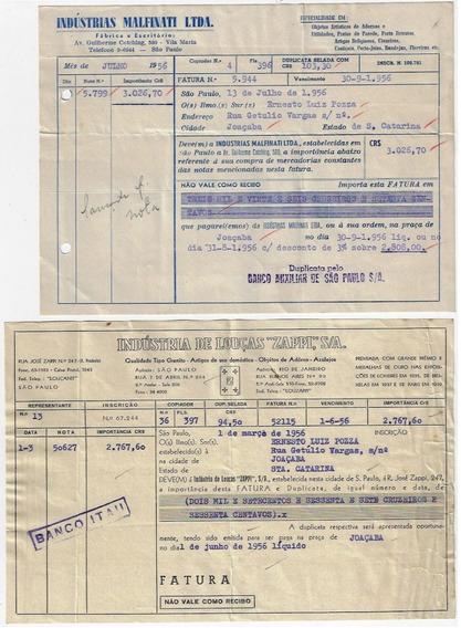 Brasil 1955/59 - 10 Documentos Timbrados Carimbos De Bancos