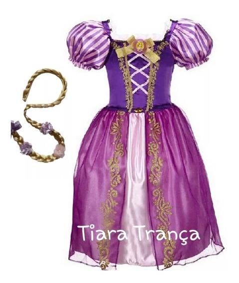 Vestido Fantasia Princesa Rapunzel Enrolados E Tiara Trança