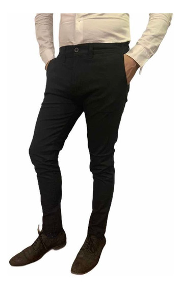 Pantalon Negro Chupin Corte Chino, De Vestir, De Gabardina