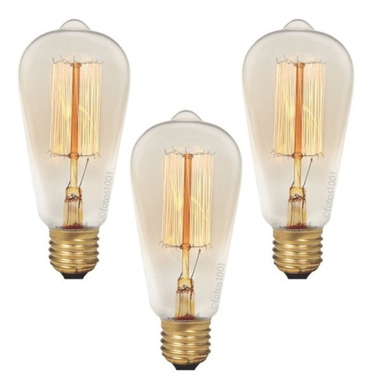 3x Lâmpada Retrô Filamento De Carbono Edison Vintage 40w