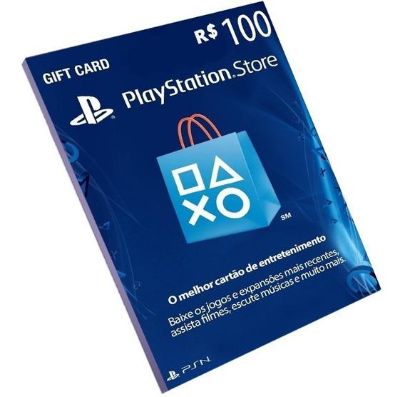 Cartão Playstation R$100 Reais Brasileira -ps3 Ps4 E Vita