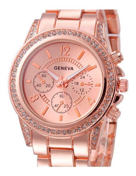Relógio Feminino Rose De Luxo Promoção Com Super Brinde