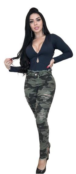 Calça Feminina Com Lycra Jeans Rasgada Pinça Levanta Bumbum