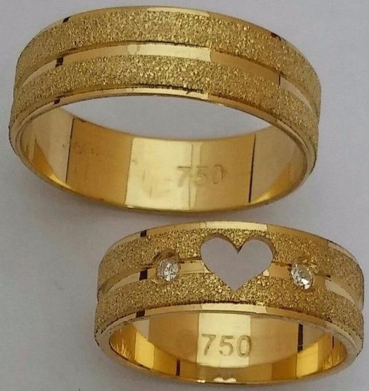 Par De Alianças 7 Grs 5mm Ouro 18k Coração Vazado E Pedras