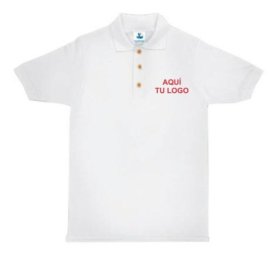 Playera Polo Yazbek Pique Blanca 100% Algodon Para Bordado