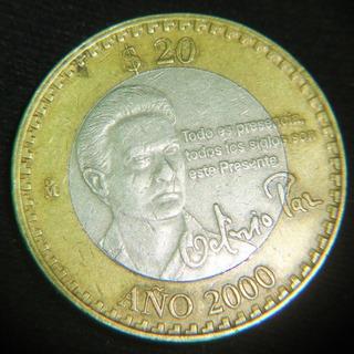 Moneda 20 Pesos 2000 Octavio Paz Bimetalica Nuevo Milenio