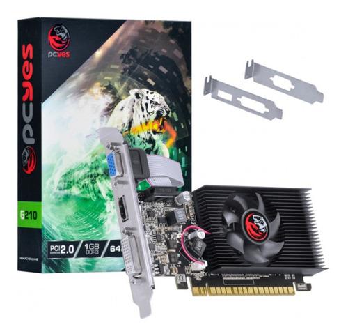 Imagem 1 de 6 de Placa De Video Pcyes Geforce Nvidia G210 1gb Ddr3 64 Bits