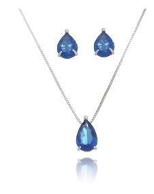 Conjunto Semijoia Cordão E Brincos Gota Zircônia Azul Safira