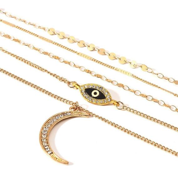 Collar De Niveles- 5 Collares- Aleación Cristales De Circón