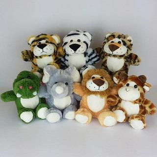 7 Bichinhos De Pelúcia Safari - 15cm Sentados Maravilhoso!!!