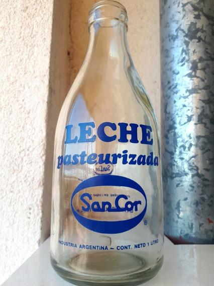 Antigua Botella Leche Sancor Logo Azul