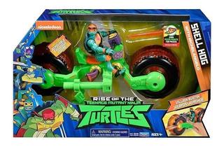Tortugas Ninja Muñeco Con Moto Y Lanzador Shell Hog Original
