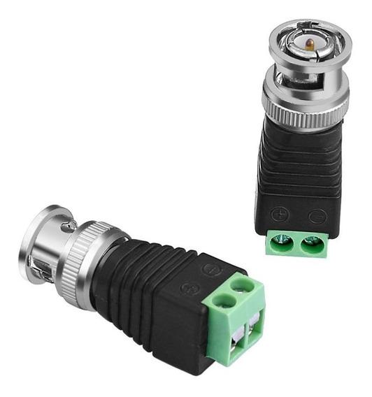 Kit 8 Conector Bnc Com Borne Cftv Câmera Plug Adaptador Tipo P4 Para Cabo