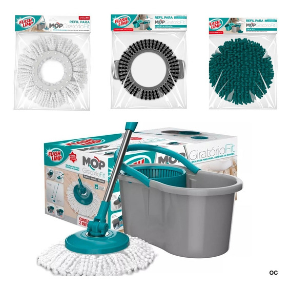 Mop Girátorio Fit Spin Com 3 Refil-microfibra/tira Po/pesada