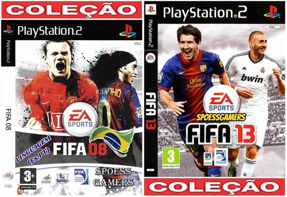 Fifa 08 E 13 Ps2 Coleção (2 Dvds) Futebol Patch Ptbr