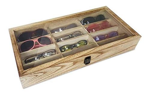 Ikee Design - Estuche De Madera Para Gafas De Sol, 12 Compar