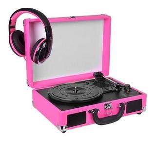 Toca Discos Para Vinilo Innovative C/parlantes Y Auric Rosa