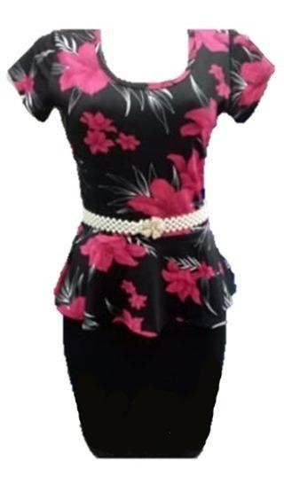Vestido Evangélico Tubinho Floral Roupa Feminina