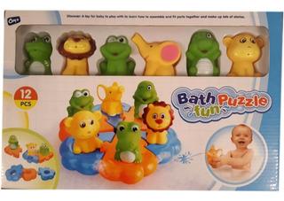 Muñecos Goma + Puzzle Plastico 12pzas Para Agua Bebes Manias