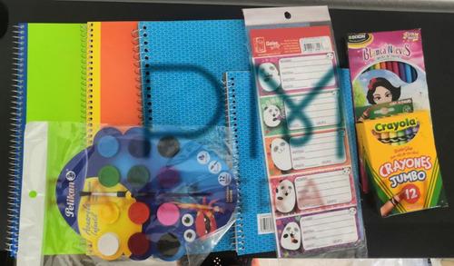 Kit Cuadernos, Crayolas, Colores Y Etiquetas
