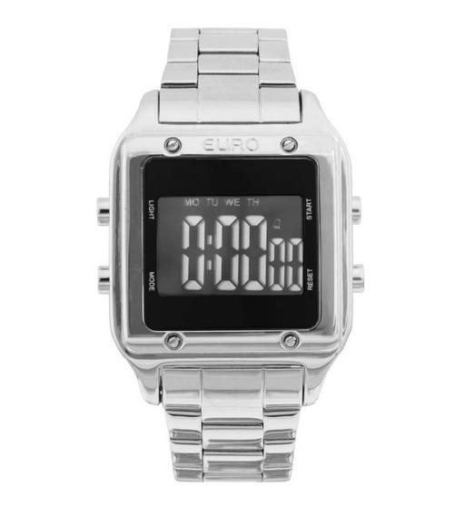 Relógio Euro Prata Feminino Digital Quadrado Eug2510ab/3p