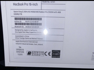 Apple Macbook Pro 16inch Touchbar 2.3ghz 8-core I9 16gb 1tb