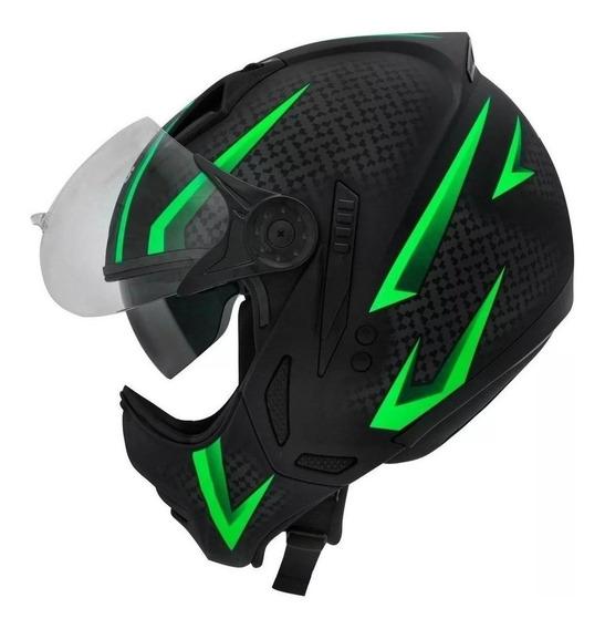 Capacete para moto multi-modular Peels Mirage Storm preto/verde XL